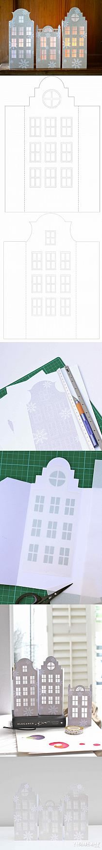 Pattern for light up paper houses Christmas Paper, Christmas And New Year, Christmas Home, Christmas Holidays, Christmas Decorations, Xmas, Diy Paper, Paper Crafts, Diy And Crafts
