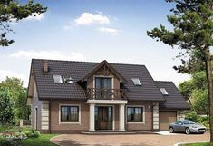 Style At Home, Balcony Window, A Frame House, New Builds, House Floor Plans, Traditional House, Brick, Villa, House Design