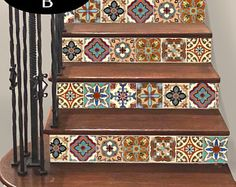 15steps Stair Riser Vinyl Strips Removable Sticker Peel & Stick : Spanish Mexican TR003B