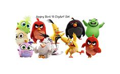 """Angry Birds """"8 Items ClipArt Set"""" Large Angry Bird Pages, Angry Bird Image, Transparent Background, Digital Instant Download, Angry Bird by ICreateAndCollect on Etsy"""