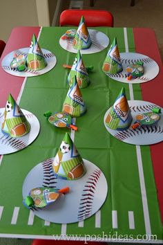 Sports Themed Boy Party Sports Themed Birthday Party, Sports Party, 6th Birthday Parties, Birthday Fun, Birthday Ideas, Girl Birthday Decorations, Party Themes For Boys, Place Setting, Party Time