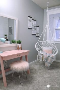 Amazing Tween Girls Bedroom reveal loaded with DIY Projects at Cute Bedroom Decor, Bedroom Decor For Teen Girls, Room Design Bedroom, Girl Bedroom Designs, Stylish Bedroom, Room Ideas Bedroom, Bedroom Ideas For Tweens, Bedroom Stuff, Girls Bedroom Ideas Paint