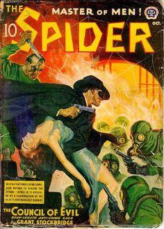 Spider 1940 pulp cover art girl woman dame prisoner hostage captive grab grasp rescue gun pistol gas mask knife stab foreign exotic danger