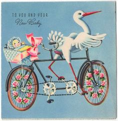 vintage baby card with stork Retro Baby Showers, Ducky Baby Showers, Baby Shower Vintage, Images Victoriennes, Baby Images, Baby Illustration, Illustrations, Baby Stork, Images Vintage