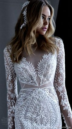 pallas couture 2016 wedding dresses lace long sleeves filigree embroidered lace illusion v neck gorgeous beautiful sheath gown with train acrene closeup
