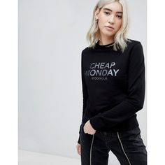 Cheap Monday Win Foil Logo Sweater (€39) ❤ liked on Polyvore featuring tops, sweaters, black, crewneck sweaters, skull sweaters, crew neck sweater, cheap monday top and knitwear sweater