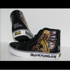 Hi top iron maiden vans Worn on the sides but the bottoms show little to no  wear.  cover photo is not mine   Vans Shoes Sneakers 36ddf71c4