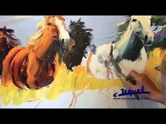 "02-Demonstration of knife painting by Christian Jequel: ""Horses"" - YouTube"
