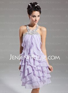 A-Line/Princess Halter Short/Mini Chiffon Homecoming Dresses With Beading (022015085)
