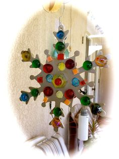 Snowflake SPARKLERS:  handmade stained glass by MosaicsofGlass