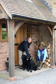 A Border Oak porch is the perfect place to get ready for a long walk. Front Door Porch, Porch Doors, Back Doors, Oak Front Door, House With Porch, House Front, Porches, Porch Extension, Porch Canopy