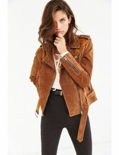 NEW URBAN OUTFITTERS ECOTE BROWN SUEDE SPLICED WESTERN JACKET MOTO SIZE MEDIUM #Ecote #WESTERN