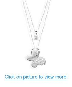 CZ Solitaire and Pave Swarovski Crystal Butterfly Necklace #CZ #Solitaire #Pave #Swarovski #Crystal #Butterfly #Necklace