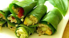 Sushi medvehagyma levélbe tekerve Fresh Rolls, Pickles, Cucumber, Sushi, Ethnic Recipes, Food, Essen, Meals, Pickle