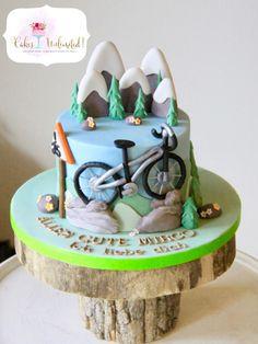 Mountain biking hobby birthday cake