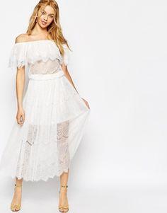 Aumentar Vestido largo de encaje estilo bohemio vintage con hombros descubiertos de Darccy