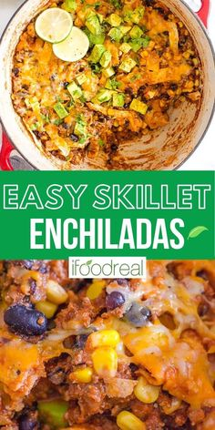 Skillet Enchiladas is a one pot, 30 minute a. Juicy ground beef is simmered in a homemade healthy enchilada sauce, loaded with veggies and topped with cheese, avocados, and cilantro. Clean Recipes, Wine Recipes, Real Food Recipes, Cooking Recipes, Yummy Food, Skillet Enchiladas, Enchiladas Healthy, Healthy One Pot Meals, Healthy Dinner Recipes