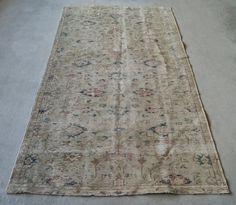 5'x9' Oushak Rug Turkish Distressed Rug Low pile Rug by RugToGo