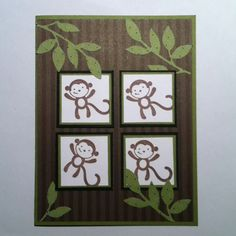 Cute monkey card for kids
