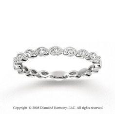 14k White Gold Milgrain 1/4 Carat Diamond Stackable Ring