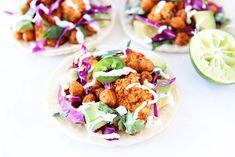 Roasted Cauliflower and Chickpea Tacos. Roasted Cauliflower and Chickpea Tacos Recipes My favorite tacos! Roasted Cauliflower and Chickpea Tacos are easy to make and so delicious! Healthy has never ta. Healthy Taco Recipes, Tasty Vegetarian Recipes, Healthy Tacos, Chickpea Recipes, Veggie Recipes, Mexican Food Recipes, Whole Food Recipes, Cooking Recipes, Healthy Dinners