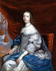1656 Madame la Princesse Claire Clémence de Maillé after Charles Beaubrun, Museu do Prado  Princess Claire's dress is adorned with three columns of pearls radiating from the point of her vee waistline that are supplemented by the rows of pearls lining the openings of her over-sleeves.