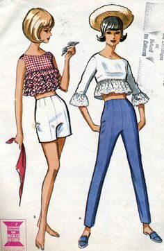 Image result for 1960's gingham ruffle crop top