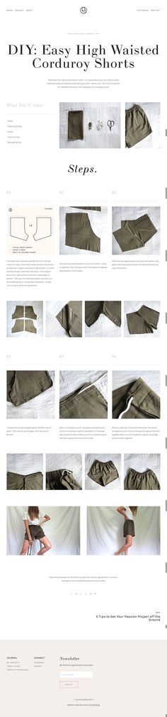 Make these epic high waisted elastic shorts. I've used corduroy but any material works with these steps just depends what look you're after - denim, linen, silk. Comfy fit perfect for weekend adventures, cafe hopping or just lounging around. Diy Shorts, Sewing Pants, Sewing Clothes, Blog Layout, Layout Design, Diy Sewing Projects, Sewing Tutorials, Fashion Sewing, Diy Fashion