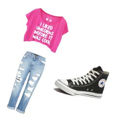 """""""Untitled #1"""" by kaleyshianne ❤ liked on Polyvore featuring Genetic Denim and Converse"""