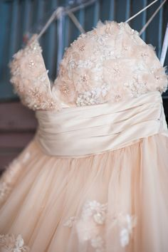 Lovely blush pink wedding dress with floral details #blushpink #blushpinkwedding #weddingdress #dress #bride