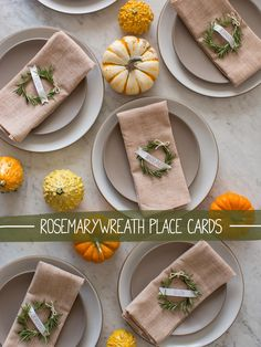 Rosemary Wreath Place Cards From Spoon Fork Bacon #placecards #DIY
