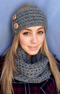 Knit Headband with Buttons in Soft Grey WarmSoft by NyulisKnits