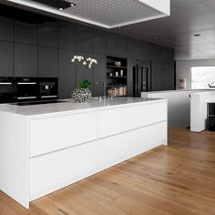 On contemporary kitchens, people like clean-cut lines when it comes to cabinets and appliances, bold tiles and backsplashes, a sleek feel and a state of the art design. For more ideas go to thekitchenvibe.com