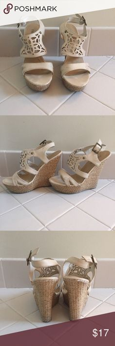 Raffia Wedge -Cream wedge - Super comfortable - Wear on the show - 5.5 inche wedge - Laser cut design Paprika Shoes Wedges