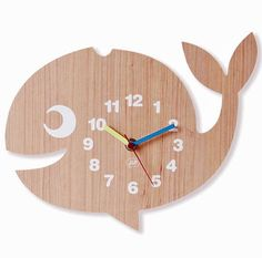 JiP 'Whale' children's wall clock in wooden veneer with blue, yellow and red hands