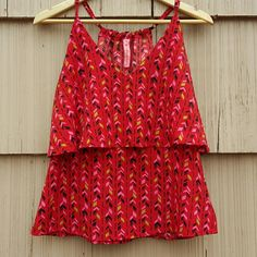 Eight Sixty Red Geometric Two layered blouse Flowy Adorable geometric design blouse by Eight Sixty. Colors are adorable! Excellent condition! Medium. Eight Sixty Tops Tank Tops
