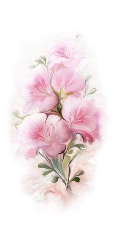 Tubes fleurs page 3 Flower Images, Flower Art, One Stroke Painting, Decoupage Paper, Vintage Flowers, Pink Flowers, Vintage Images, Flower Power, Illustration