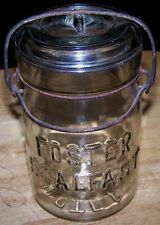 VINTAGE FOSTER SEALFAST PINT MASON FRUIT CANNING JAR / WIRE BAIL GLASS LID
