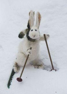 Handmade felted ski bunny.
