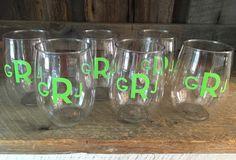 Monogrammed acrylic wine cups