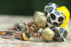 African-Inspired Giraffe Print Agate, Yellow Resin and Brass Bracelet | XO Gallery