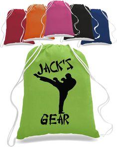 Boy Karate Martial arts Drawstring Bag Backpack personalized with name taekwondo judo totebag tote bag Personalized Backpack, Personalized Pillow Cases, Backpack Bags, Tote Bags, Custom Tees, Taekwondo, Judo, State Art, Karate
