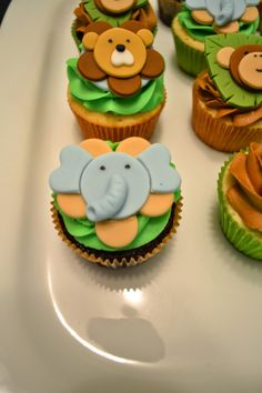 So here are the cupcakes that went with the monkey cookies and the baby shower onesies! Everything turned out so cute! I wish I had a pictur...