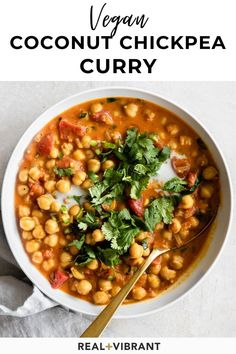 The ultimate weeknight dinner, this coconut chickpea curry is packed with flavor and comes together in less than 30 minutes with easy pantry ingredients. Tasty Vegetarian Recipes, Chickpea Recipes, Vegan Dinner Recipes, Vegan Dinners, Indian Food Recipes, Whole Food Recipes, Cooking Recipes, Healthy Recipes, Turkish Recipes