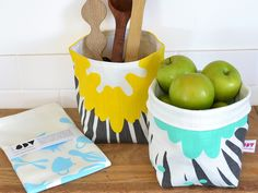 Buy 2 small fabric baskets, get a FREE tea towel worth Kitchen Organisation, Tea Towels, Serving Bowls, Screen Printing, Basket, Tableware, Fabric, Prints, Stuff To Buy