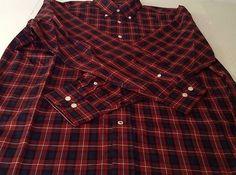 Nautica Wrinkle Resistant Large Red Blue Plaid Shirt Long Sleeve                            $11.95 free ship