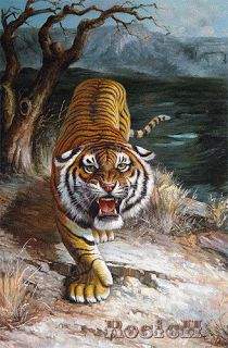 Animated Gif by Gigi Normand Tiger Artwork, Tiger Painting, Big Cats Art, Cat Art, Art Tigre, Tiger Drawing, Year Of The Tiger, Tiger Tattoo, Animal Wallpaper