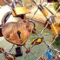 Locks left by lovers to symbolize their everlasting love. Pont de l'Archevêché, Paris