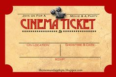 Movie Theater Birthday Party Invite  Parties Celebrations