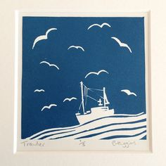 Trawler Linocut by EmmaHigginsPrints on Etsy